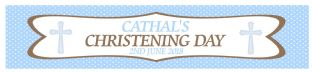 Blue Polka Dot Christening Banner